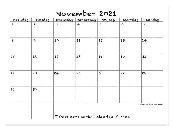 Kalender november 2021, 77MZ. Agenda om gratis te printen.