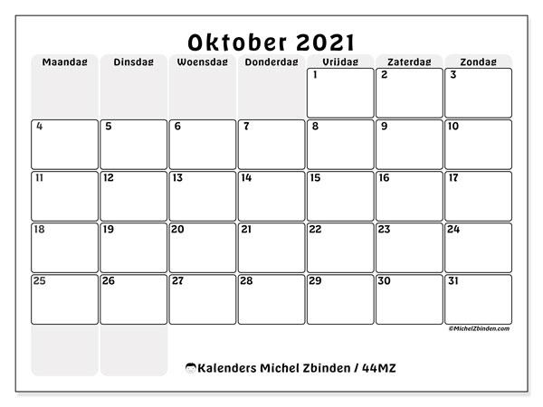 Kalender oktober 2021, 44MZ. Kalender om gratis te printen.