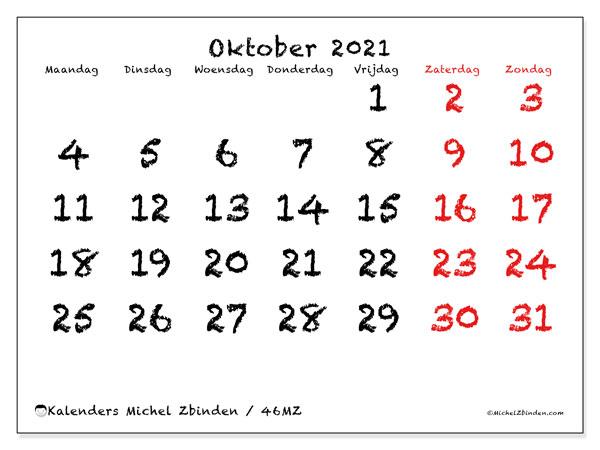 Kalender oktober 2021, 46MZ. Kalender voor de maand die gratis moet worden afgedrukt.