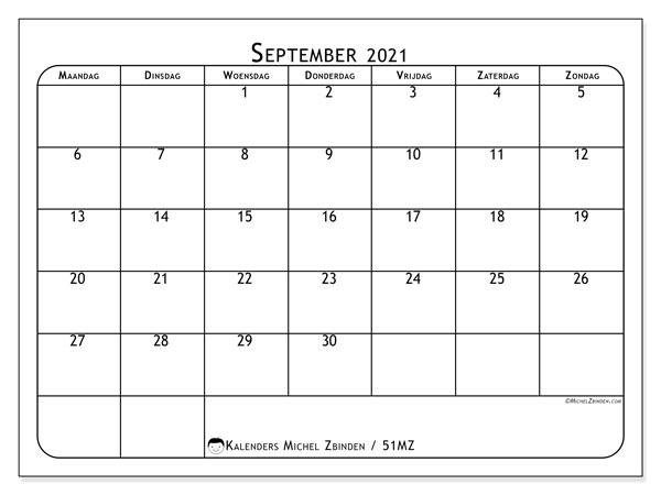 Kalender september 2021, 51MZ. Kalender voor de maand die gratis moet worden afgedrukt.
