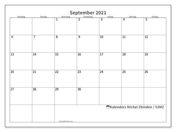 Kalender september 2021, 53MZ. Kalender voor de maand die gratis moet worden afgedrukt.