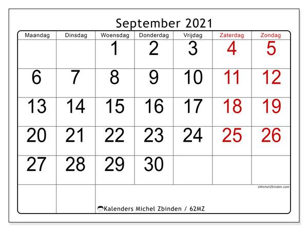 Kalender september 2021, 62MZ. Kalender om gratis af te drukken.