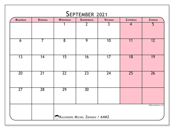 Kalender september 2021, 64MZ. Kalender om gratis af te drukken.