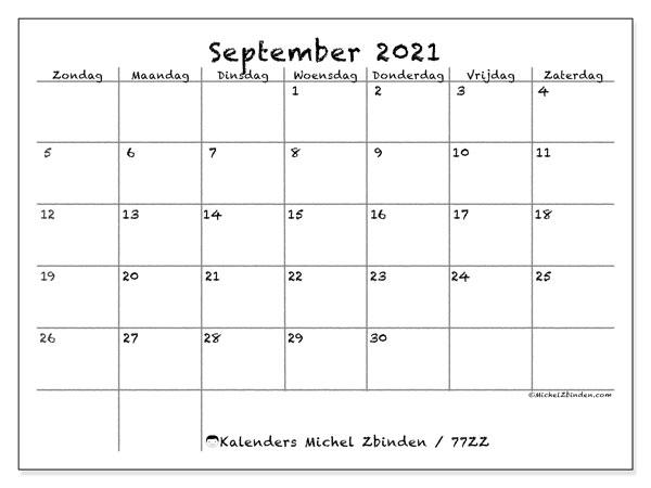 Kalender september 2021, 77ZZ. Gratis kalender om af te drukken.