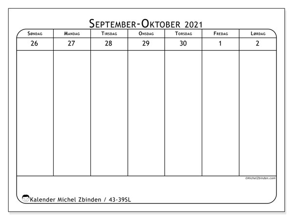 Kalender 2021, 43-39SL. Kalender som skal skrives ut gratis.