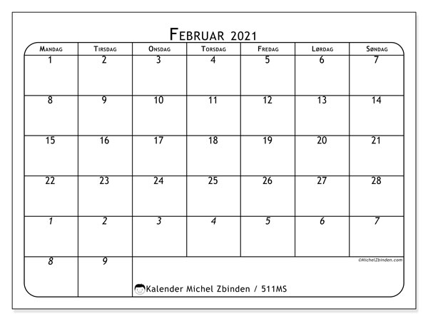 """Kalendere februar 2021 """"Mandag - Søndag"""" - Michel Zbinden NO"""