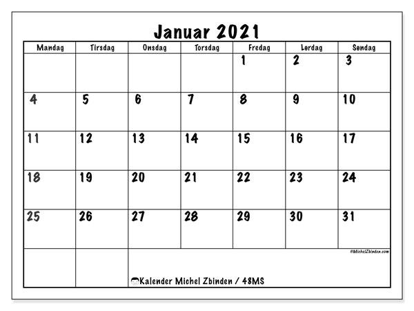 Kalender januar 2021, 48MS. Månedskalender som skal skrives ut gratis..
