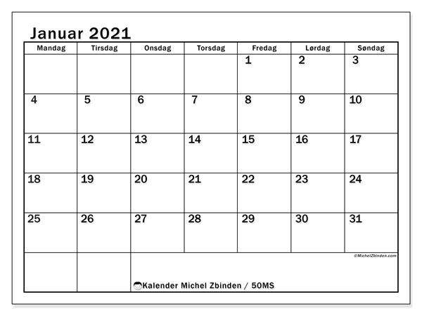 Kalender januar 2021, 50MS. Månedskalender som skal skrives ut gratis..