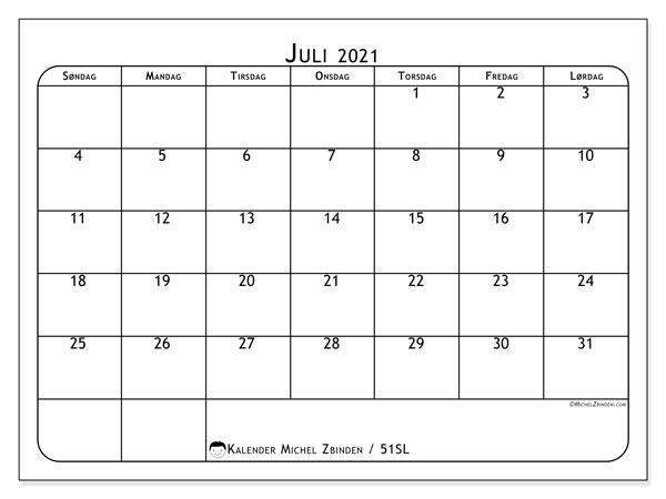 Kalender juli 2021, 51SL. Gratis utskrivbar kalender.