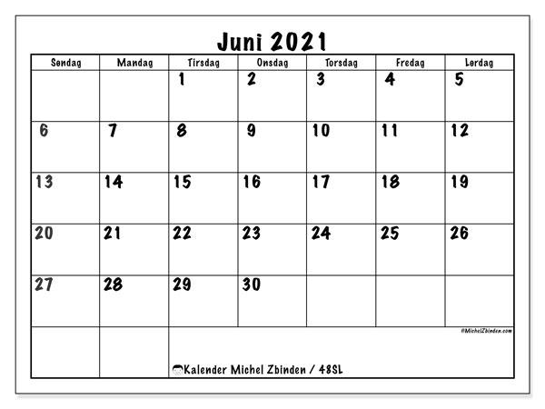 Kalender juni 2021, 48SL. Kalender for måneden å skrive ut gratis.