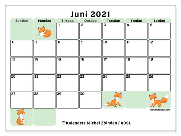 Kalender juni 2021, 49SL. Kalender for måneden å skrive ut gratis.