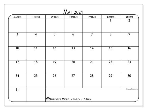 Kalender mai 2021, 51MS. Arrangør å skrive ut gratis.