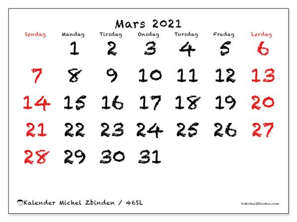Kalender mars 2021, 46SL. Månedskalender som skal skrives ut gratis..