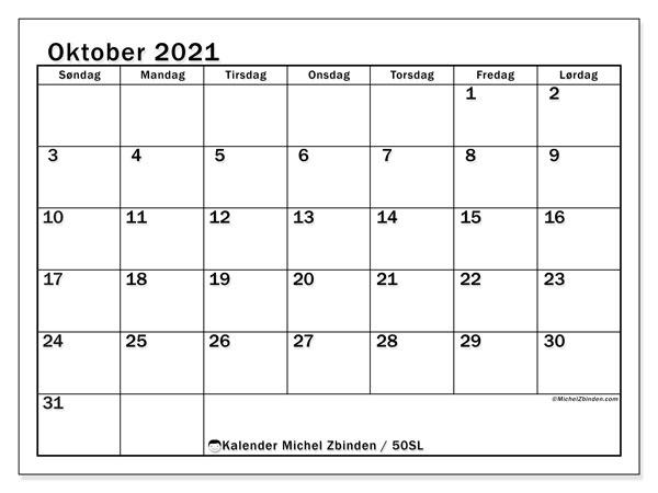Kalender oktober 2021, 50SL. Gratis utskrivbar kalender.
