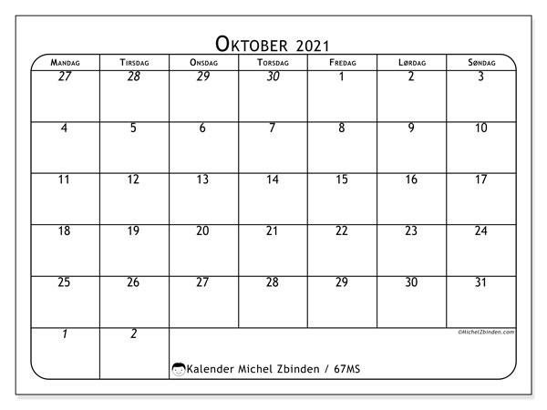 Kalender oktober 2021, 67MS. Gratis kalender å trykke.