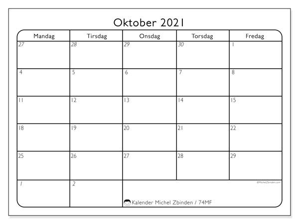 Kalender oktober 2021, 74SL. Gratis kalender å trykke.