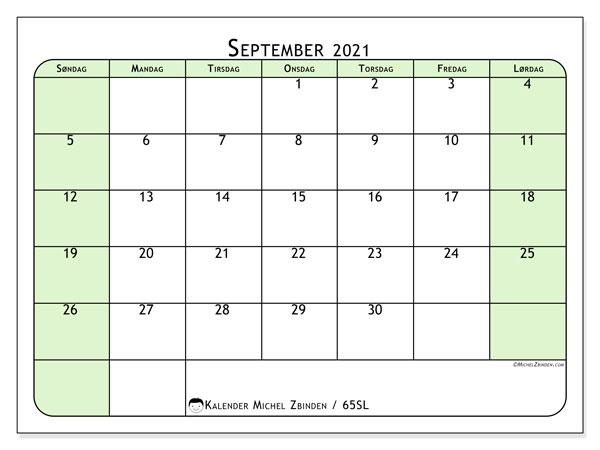 Kalender september 2021, 65SL. Gratis utskrivbar kalender.