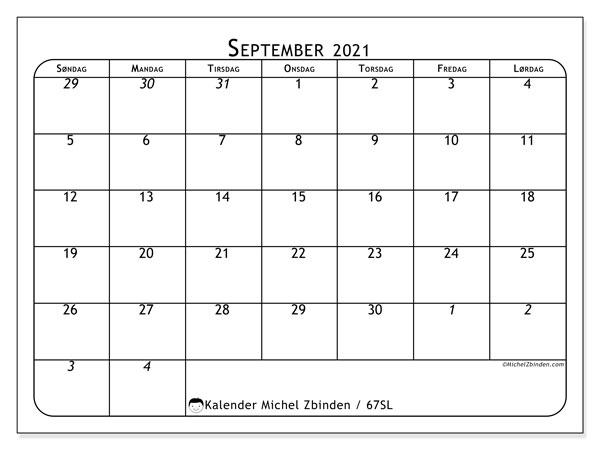 Kalender september 2021, 67SL. Gratis tidsplan å trykke.