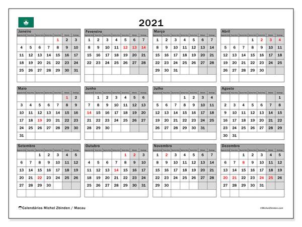 Calendário 2021, com as festas do Macau. Calendário para impressão gratuita com feriados.