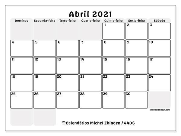 Calendário abril 2021, 44DS. Calendário para o mês para imprimir livre.