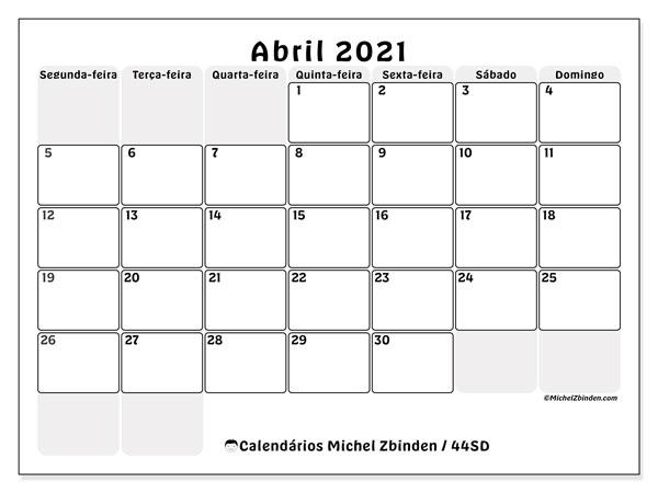 Calendário abril 2021, 44SD. Calendário para imprimir livre.