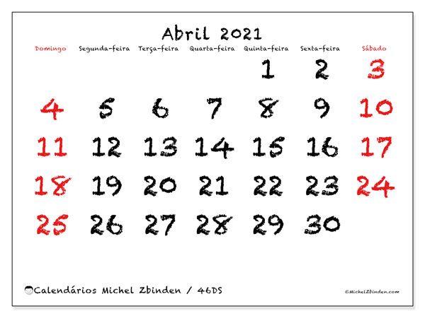 Calendário abril 2021, 46DS. Calendário gratuito para imprimir.