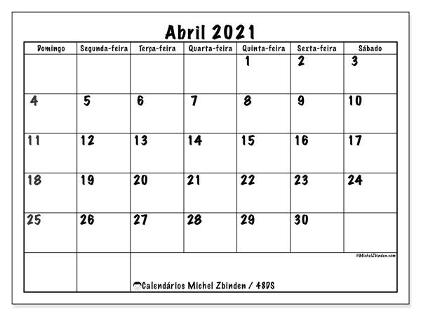 Calendário abril 2021, 48DS. Calendário gratuito para imprimir.