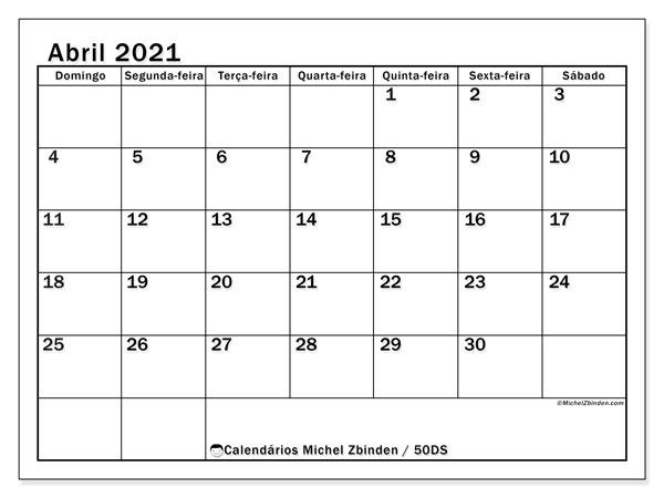 Calendário abril 2021, 50DS. Calendário para o mês para imprimir livre.