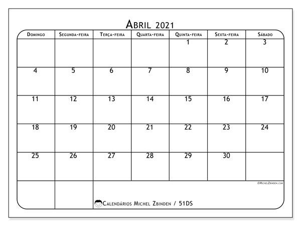 Calendário abril 2021, 51DS. Calendário para imprimir gratuitamente.
