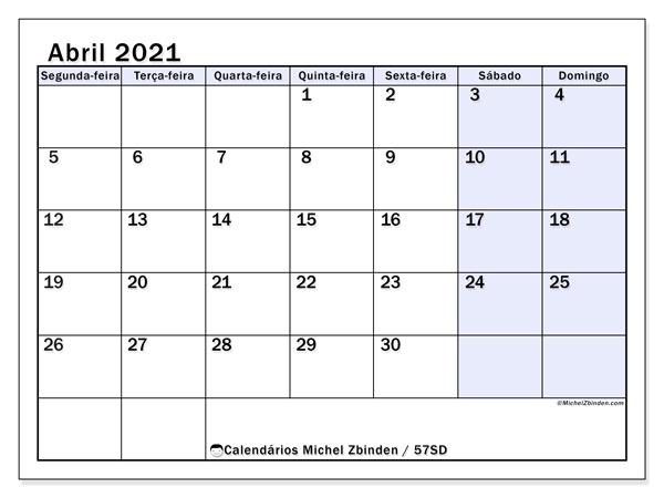 Calendário abril 2021, 57SD. Calendário gratuito para imprimir.