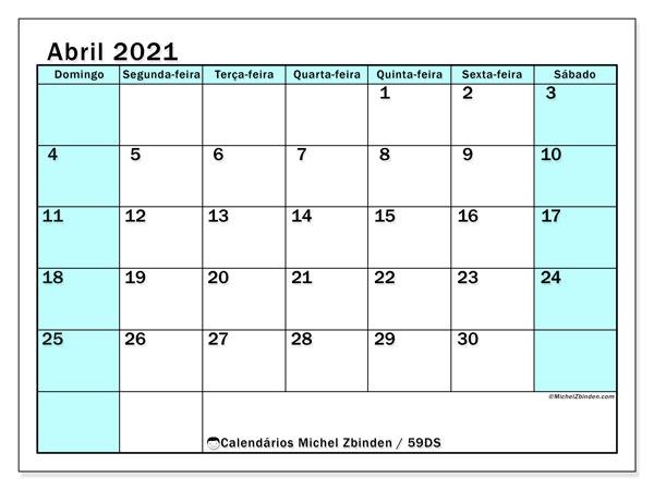 Calendário abril 2021, 59DS. Calendário gratuito para imprimir.