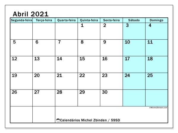 Calendário abril 2021, 59SD. Calendário para imprimir livre.