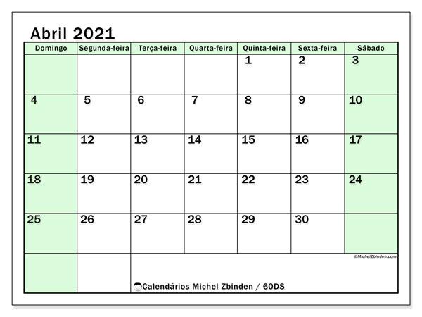 Calendário abril 2021, 60DS. Calendário para imprimir livre.