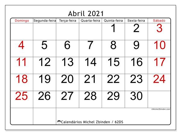Calendário abril 2021, 62DS. Horário para imprimir livre.