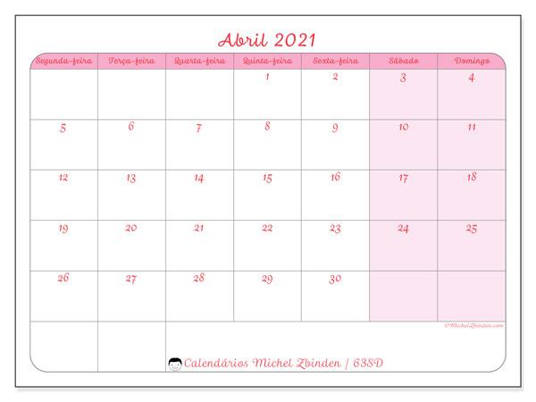 Calendário abril 2021, 63SD. Agenda para imprimir livre.