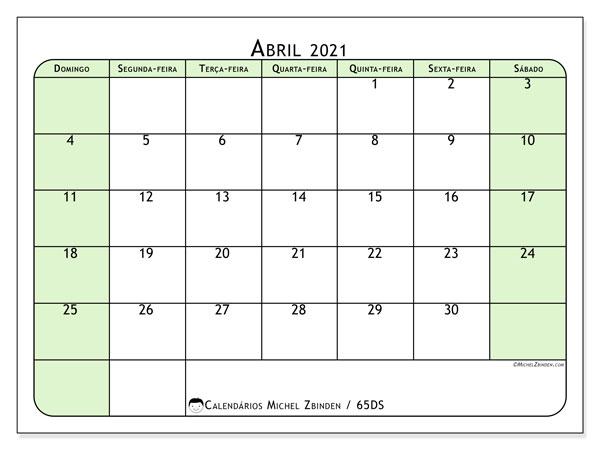 Calendário abril 2021, 65DS. Agenda para imprimir livre.