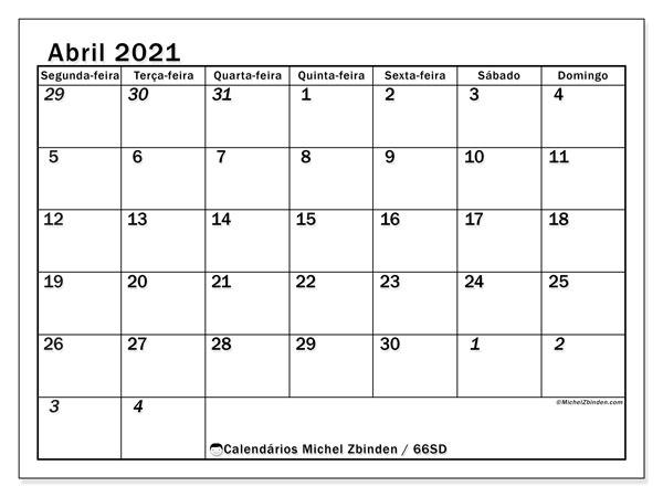 Calendário abril 2021, 66SD. Calendário para imprimir livre.