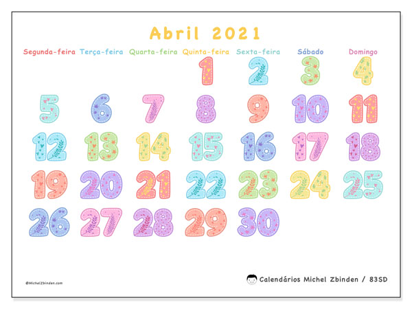 Calendário abril 2021, 83SD. Calendário para o mês para imprimir livre.