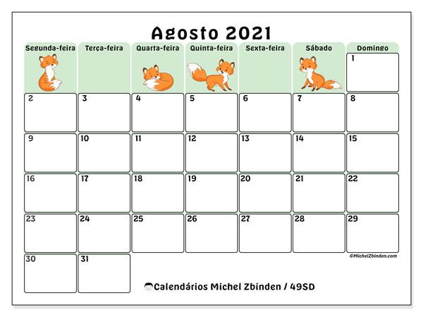 Calendário agosto 2021, 49SD. Calendário para imprimir gratuitamente.