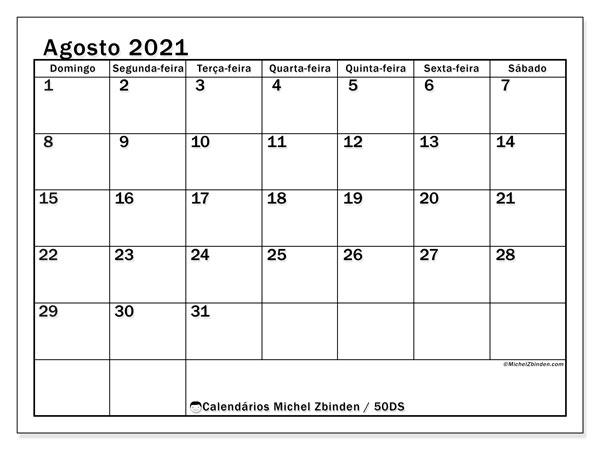 Calendário agosto 2021, 50DS. Calendário gratuito para imprimir.