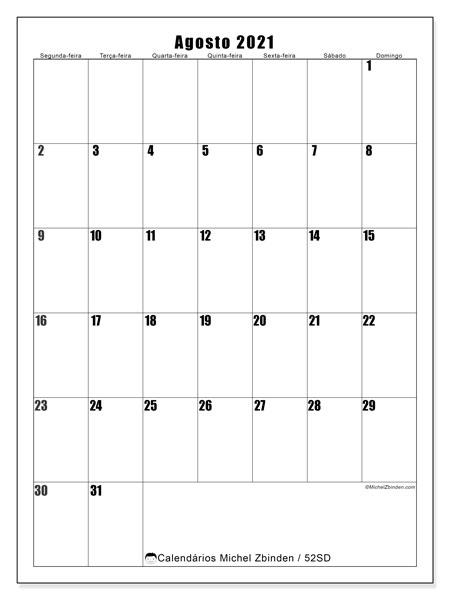 Calendário agosto 2021, 52SD. Calendário para imprimir gratuitamente.