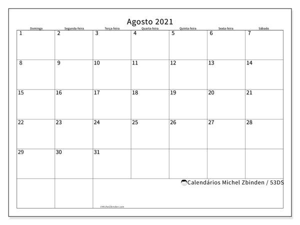 Calendário agosto 2021, 53DS. Agenda para imprimir livre.