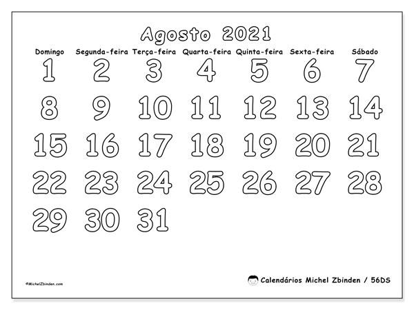 Calendário agosto 2021, 56DS. Calendário para imprimir livre.