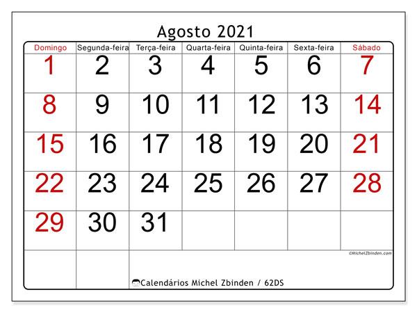 Calendário agosto 2021, 62DS. Calendário para imprimir livre.