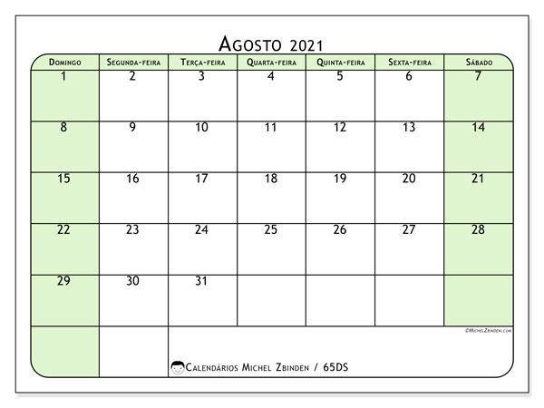 Calendário agosto 2021, 65DS. Calendário mensal para imprimir gratuitamente.