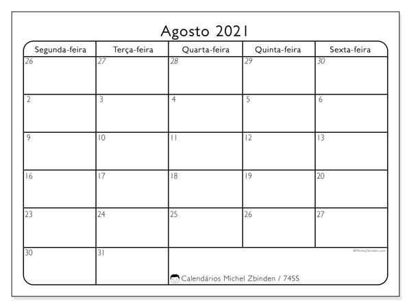 Calendário agosto 2021, 74DS. Calendário para o mês para imprimir livre.