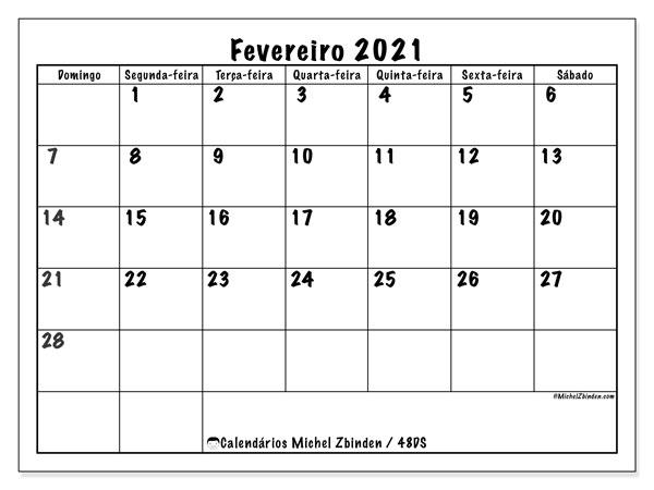 Calendário fevereiro 2021, 48DS. Calendário gratuito para imprimir.