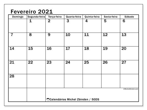 Calendário fevereiro 2021, 50DS. Calendário para imprimir livre.