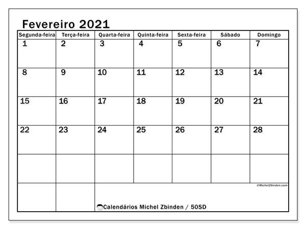 Calendário fevereiro 2021, 50SD. Calendário para o mês para imprimir livre.