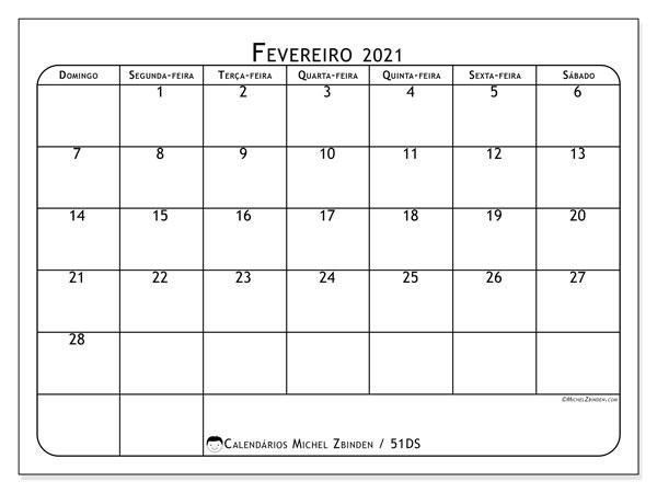 Calendário fevereiro 2021, 51DS. Calendário mensal para imprimir gratuitamente.